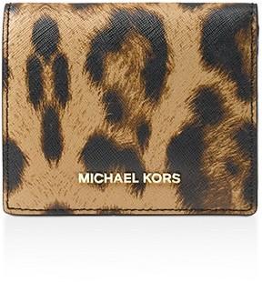 MICHAEL Michael Kors Flap Leopard Print Leather Card Case - LEOPARD/GOLD - STYLE