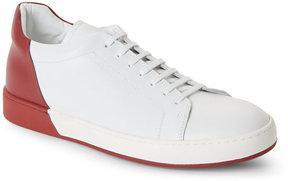 Jil Sander White & Red Color Blocked Low Top Sneakers