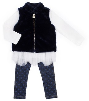 Nicole Miller Floral Top, Faux Fur Vest & Foil Dot Legging Set (Baby Girls)