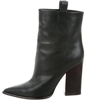 Celine Leather Pointed-Toe Ankle Boots