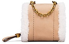 Tory Burch Sadie Shearling Mini Square Pouch - CLAY BEIGE - STYLE