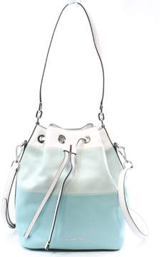 Michael Kors MICHAEL Womens Dottie Leather Colorblock Bucket Handbag Blue Large - AZURE/CELEDON/WHITE - STYLE