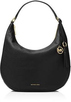 MICHAEL Michael Kors Lydia Large Leather Hobo - BLACK/GOLD - STYLE