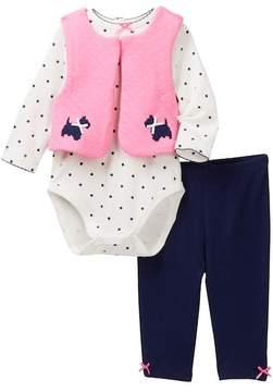 Little Me Scottie Dot Vest 3 Piece Set (Baby Girls)