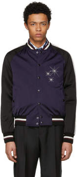 Lanvin Black and Purple Satin Starlight Baseball Jacket