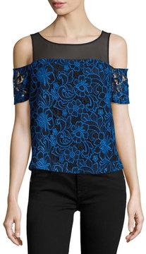 Cooper & Ella Emma Cold-Shoulder Embroidered Lace Top, Blue