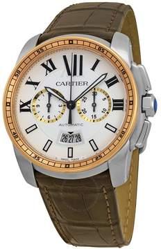 Cartier Calibre De Silver Dial Stainless Steel 18kt Pink Gold Brown Alligator Men's Watch