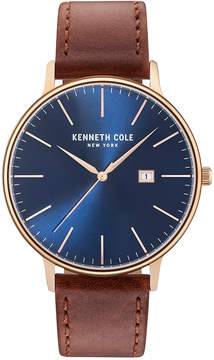 Kenneth Cole New York Men's Brown Leather Strap Watch 42mm KC15059007