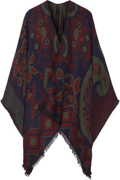 Etro Fringed Wool-blend Jacquard Poncho - Midnight blue