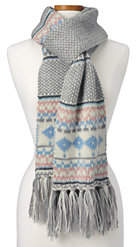 Lands' End Women's Multi Ski Scarf-Gray Heather