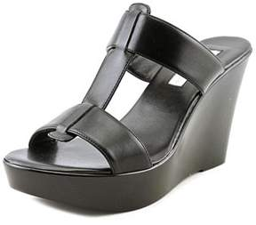 INC International Concepts Paciee Women Open Toe Synthetic Black Wedge Sandal.