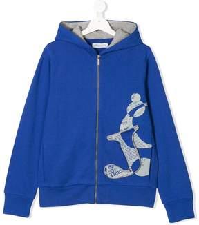 John Galliano Teen three-dimensional logo zip hoodie