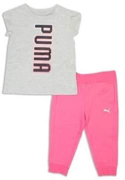 Puma Little Girls Two-Piece Logo Tee and Capri Jogger Pants Set