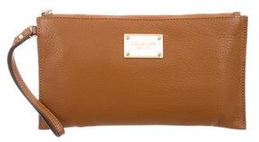 MICHAEL Michael Kors Leather Wristlet Clutch - BROWN - STYLE