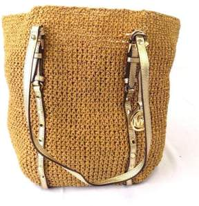 Michael Kors Brand New Women's Studded Straw Large Shopper Tote Bag Handbag - NATURAL/GOLD - STYLE