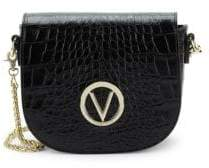 Mario Valentino Josette Crocodile Print Leather Saddle Crossbody Bag