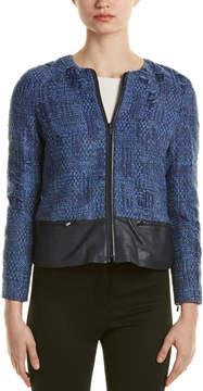 Ecru Leather-Trim Wool-Blend Jacket