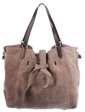 Brunello Cucinelli Leather-Trimmed Suede Handle Bag