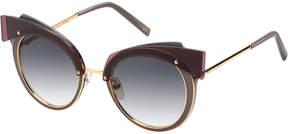 Marc Jacobs Gradient Round Sunglasses w/ Layered Brow, Dark Red/Gray