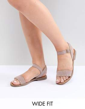New Look Wide Fit Studded Flat Sandal