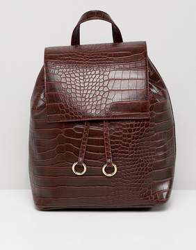 Asos DESIGN backpack with ring toggle detail in croc