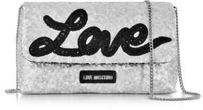 Love Moschino Love Sequins Metallic Silver Clutch w/Chain Strap