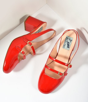 Unique Vintage Miss L Fire 1960s Style Red Patent Leather Mary Jane Open Dolly Heels Shoes