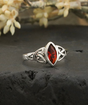 Celtic Ruby & Sterling Silver Knot Ring