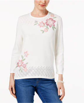 Alfred Dunner Winter Garden Floral-Embroidered Sweater