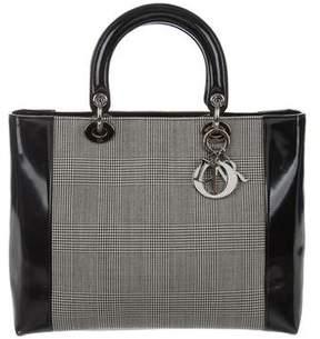 Christian Dior Houndstooth Large Lady Bag