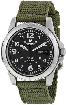 Seiko Black Dial Green Nylon Solar Quartz Men's Watch
