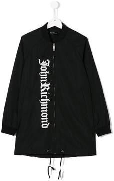 John Richmond Kids Teen logo print bomber jacket