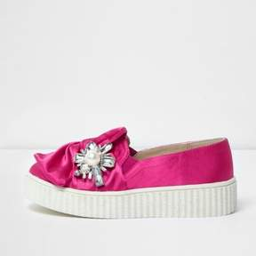 River Island Girls pink satin embellished plimsolls