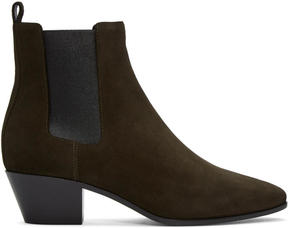 Saint Laurent Green Suede Rock Chelsea Boots