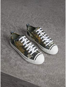Burberry Beasts Print Cotton Blend Trainers
