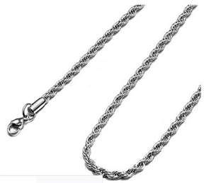 Armani Exchange Jewelry Stainless Steel Mens 24-inch 7mm Rope Chain Necklace.