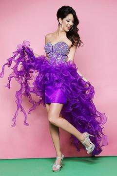 Blush Lingerie Sheer Ruffled Sweetheart High-Low Gown 9560