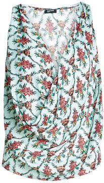 Jil Sander Navy Floral Print Crepe Blouse