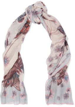 Valentino - Pleated Printed Cotton And Silk-blend Scarf - Blush