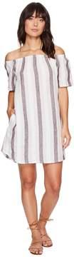 Allen Allen Two-Pocket Off the Shoulder Stripe Dress