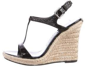 Burberry Patent T-Strap Wedge Sandals