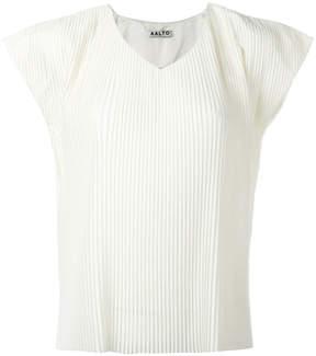Aalto pleated V-neck top