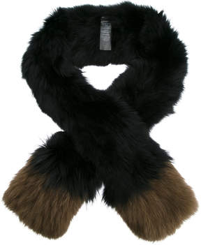 Yves Salomon contrast tip scarf