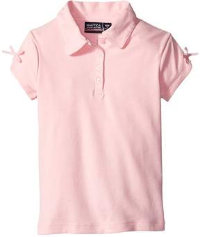 Nautica Short Sleeve Polo with Bow At Sleeve Girl's Short Sleeve Pullover