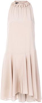 Emporio Armani embellished neck flared dress