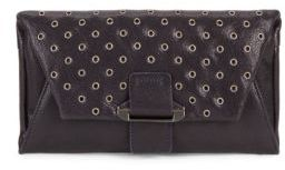 Magnetic Snap Leather Wallet Clutch