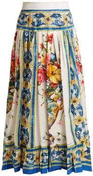 DOLCE & GABBANA Majolica-print cotton-poplin skirt
