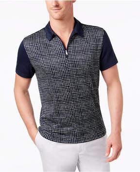 Alfani Men's Grid-Print 1/4-Zip Polo, Created for Macy's