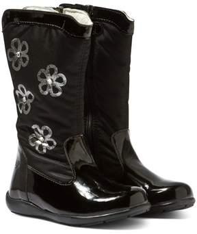 Primigi Black Flora Tall Patent Floral Print Boots