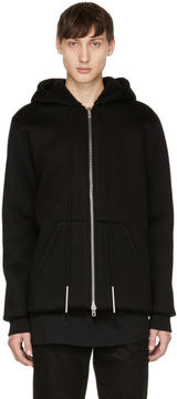 Givenchy Black Neoprene and Shearling Zip Hoodie